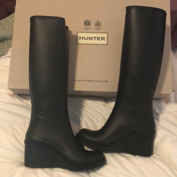 buying new recognized brands new specials Hunter Boots with Wedge Heel in Matte Black